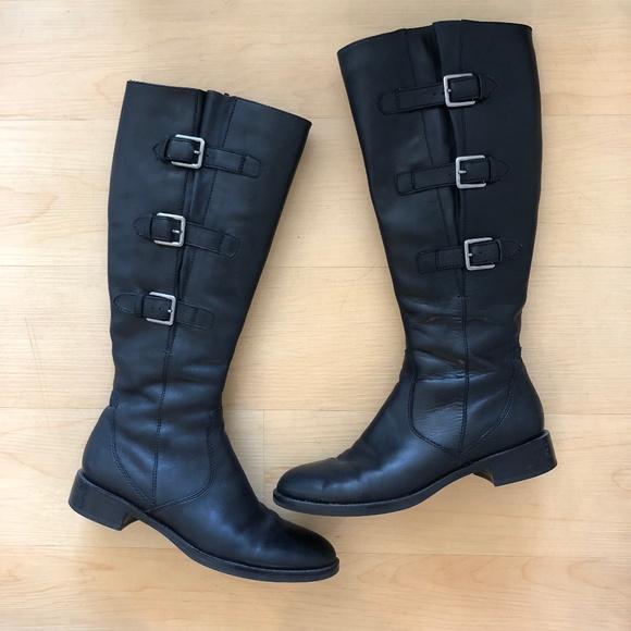 Ecco Hobart buckle knee high boots black leather